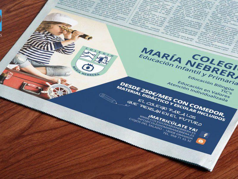 Diseño de faldón de prensa para el colegio Maria Nebrera